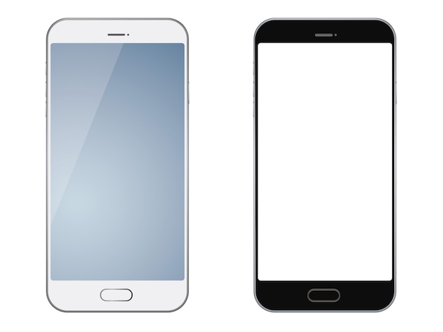 Set of two smartphones isolated