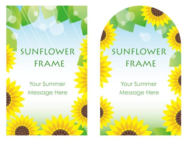 Set of two sunflower frames, vector illustration