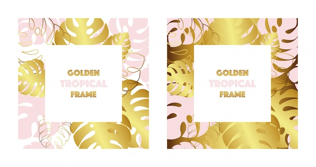Set of two tropical golden frames. gold and pink tropical monsteras leaves.
