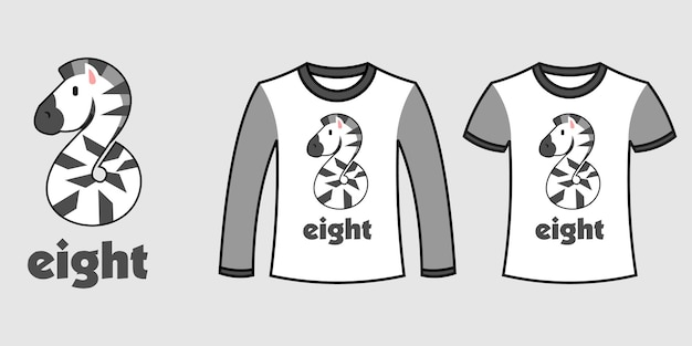 Set of two types of clothes with number eight zebra shape on t-shirts free vector