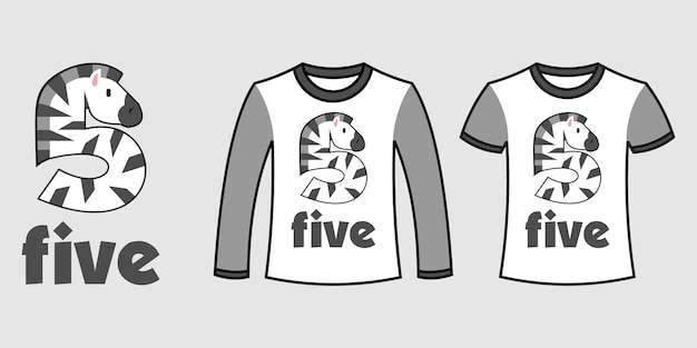 Set of two types of clothes with number five zebra shape on t-shirts free vector