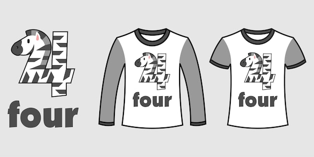 Set of two types of clothes with number four zebra shape on t-shirts free vector