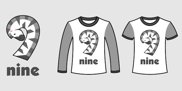 Set of two types of clothes with number nine zebra shape on t-shirts free vector