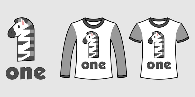 Set of two types of clothes with number one zebra shape on t-shirts free vector