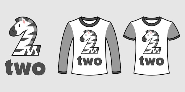 Set of two types of clothes with number two zebra shape on t-shirts free vector