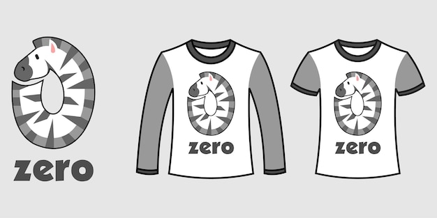 Set of two types of clothes with number zero zebra shape on t-shirts free vector
