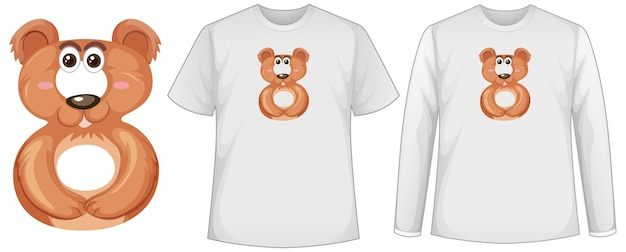 Set of two types of shirt with bear in number eight shape