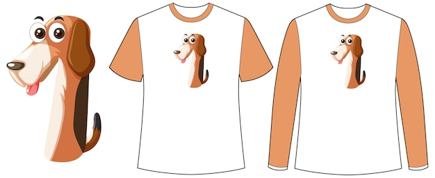 Set of two types of shirt with dog in number one shape screen on t-shirts