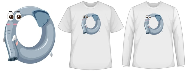 Set of two types of shirt with elephant in number zero shape screen on t-shirts