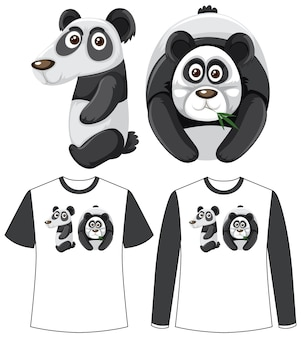 Set of two types of shirt with panda in number ten shape screen on t-shirts