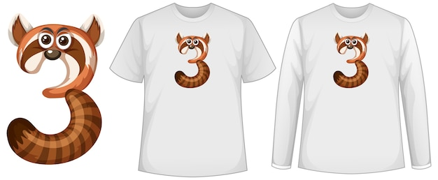 Set of two types of shirt with raccoon in number three shape screen on t-shirts