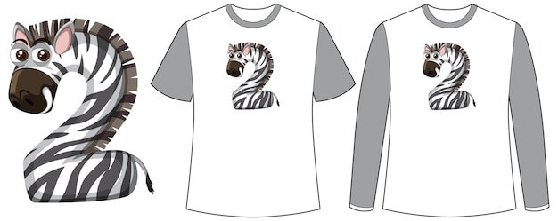 Set of two types of shirt with zebra in number two shape screen on t-shirts