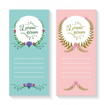 Set of two vertical banners with laurel wreath and foliage ornaments, pink and blue