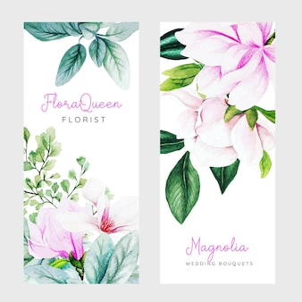 Set of two vertical banners with pink magnolia flowers and leaves