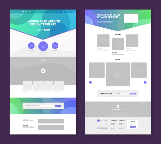 Set of two website layout templates with simple design gallery articles video map contact form flat isolated