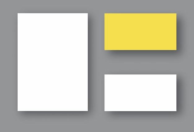 Set of two white realistic blank pages with shadow. mock up template for your design.
