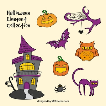Set of typical halloween items, hand drawn