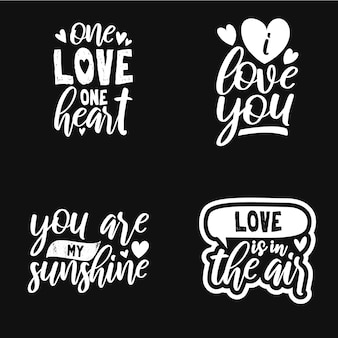 Set typography quotes about love