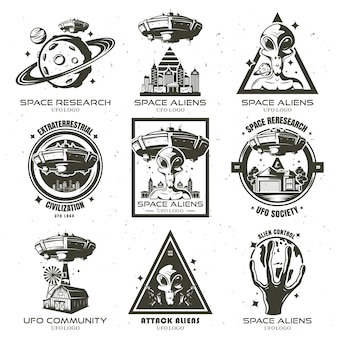 A set of ufo and alien emblems.   illustration