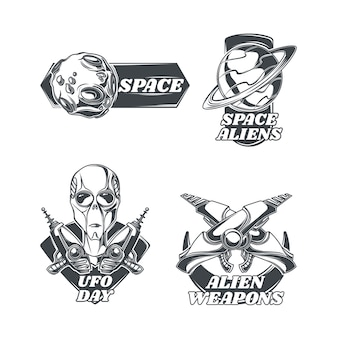 Set of ufo emblems