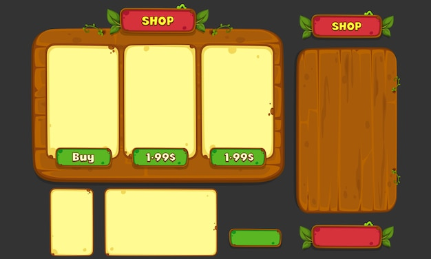 Set of ui elements for 2d games and apps, jungle game ui part 3