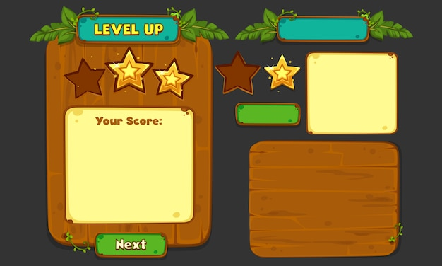 Set of ui elements for 2d games and apps, jungle game ui part 4