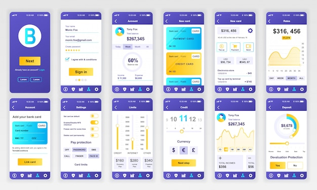 Set of ui, ux, gui screens banking app flat