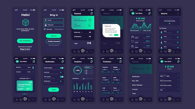 Set of ui, ux, gui screens cryptocurrency app flat template