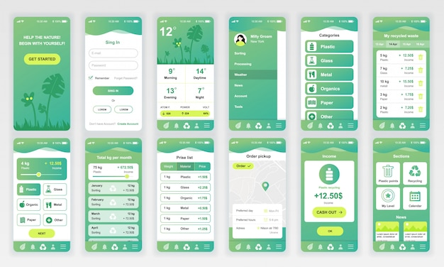 Set of ui, ux, gui screens ecology app flat