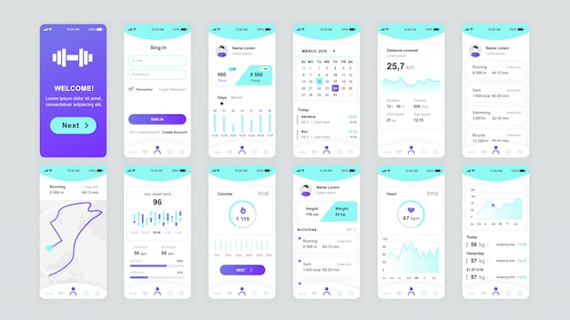 Set of ui, ux, gui screens fitness app flat template