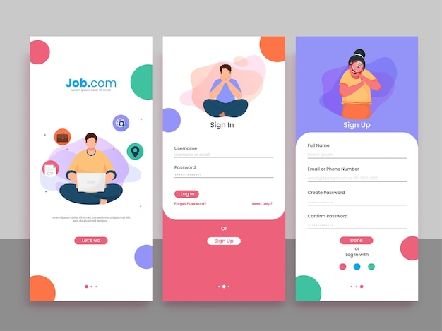 Set of ui, ux, gui screens job recruitment app including create account