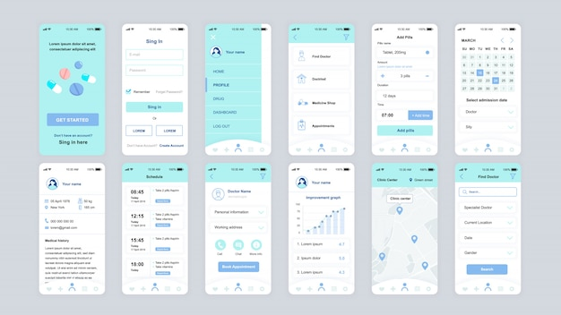 Set of ui, ux, gui screens medicine app flat template