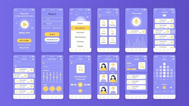 Set of ui, ux, gui screens music app flat template