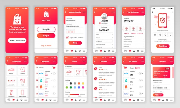Set of ui, ux, gui screens shopping app flat