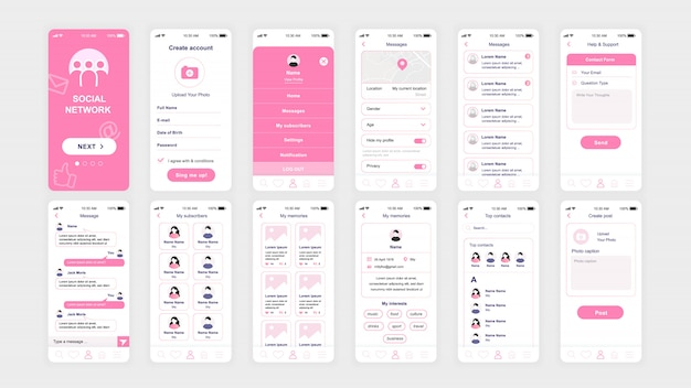 Set of ui, ux, gui screens social network app flat template