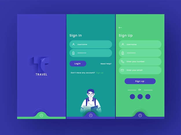 Set of ui, ux, gui screens travel app including as create account