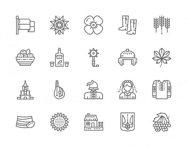 Set of ukrainian culture line icons