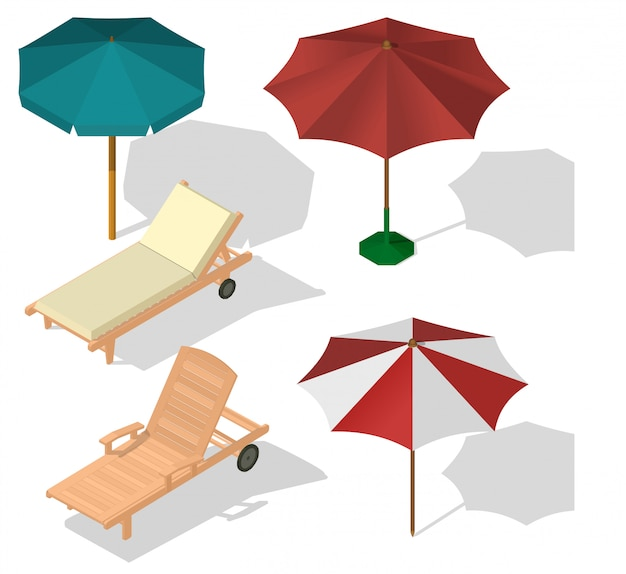 Set umbrella on beach