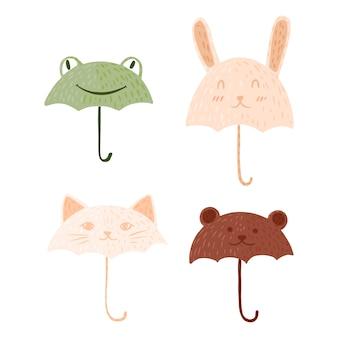 落書きスタイルで傘の動物を設定します