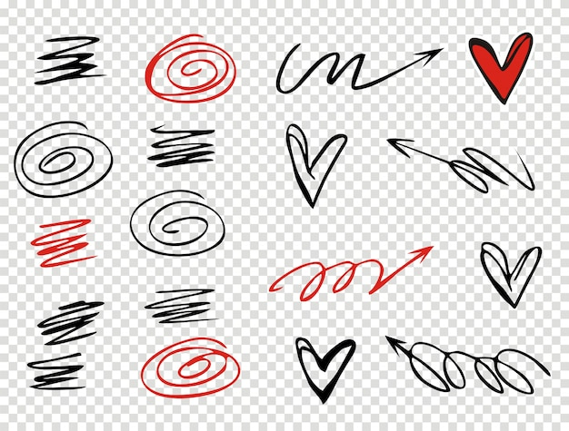 Set of underline strokes in doodle style various shapes
