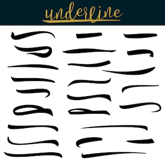 Set of underlines lettering lines isolated