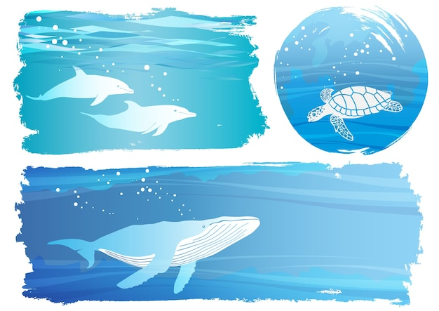 Set of undersea vector background illustrations isolated