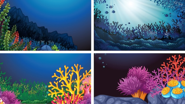 Set of underwater landscape background