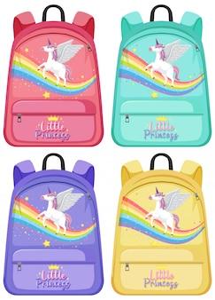 Set of unicorn backpack