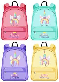 Set of unicorn backpack