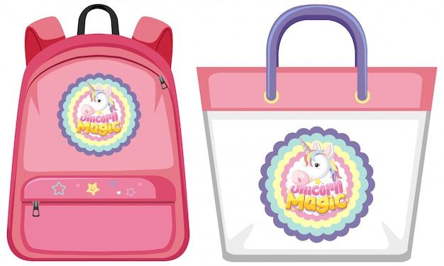 Set of unicorn bag