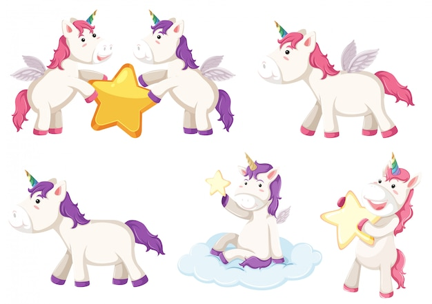 Cute Fat Unicorn Flying Seamless Pattern Vector Premium