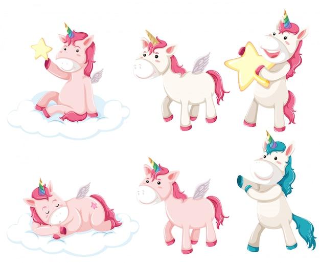 Set of unicorn character