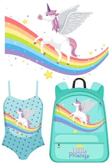 Set of unicorn clothes