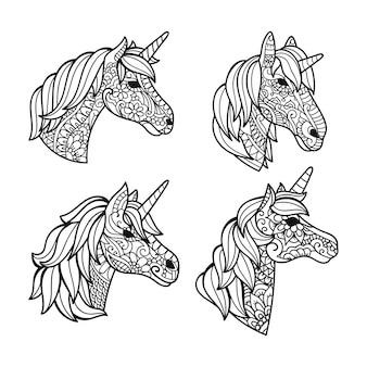 Set of unicorn decoration cutting design
